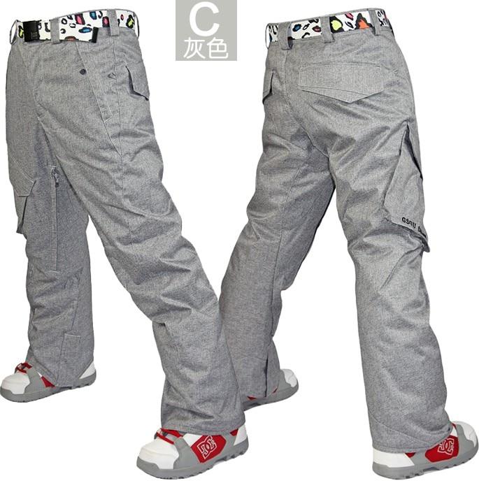 Mens Grey Ski Pants Gray Skiing Snowboarding Pants For Men Blue Riding Climbing Snow Pants Waterproof 10K Windproof Thermal