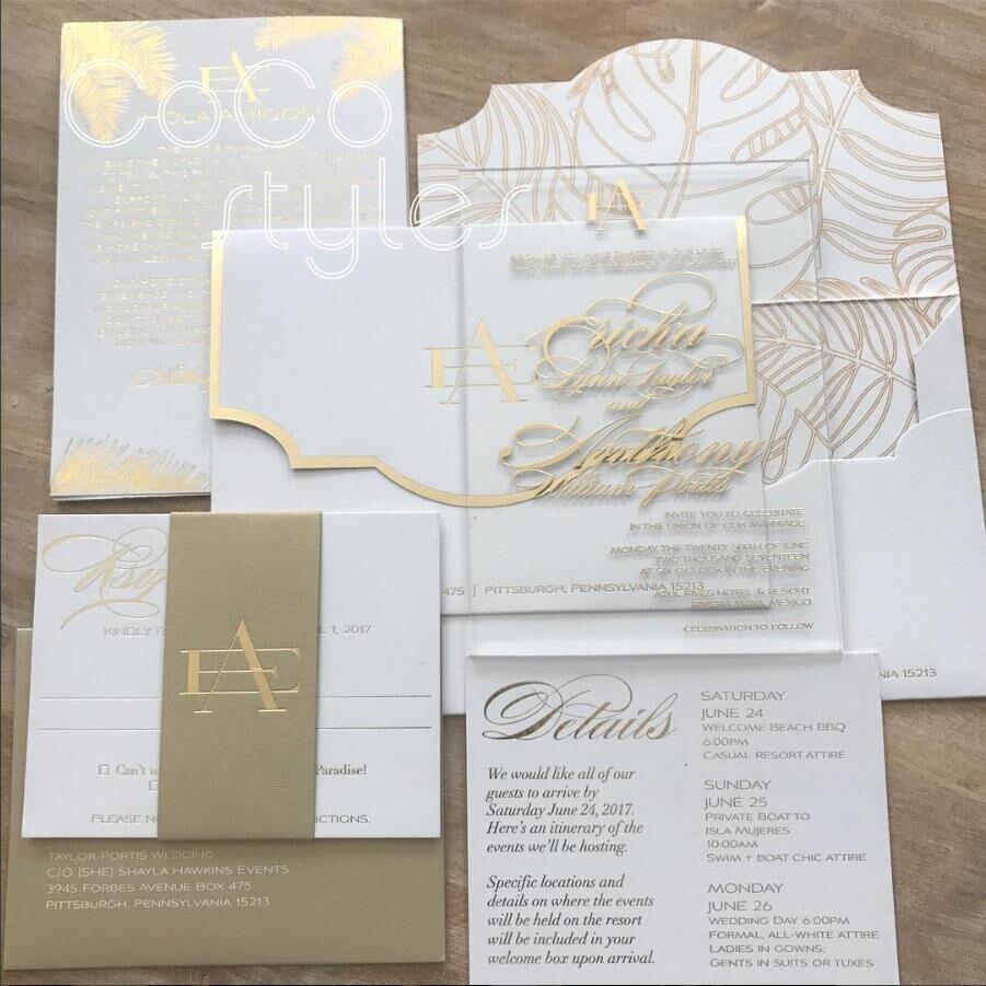 Cocostyles custom modern acrylic invitation card set with gold ...