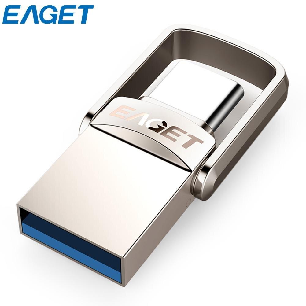 EAGET Type C USB Flash Drive 16 gb USB 3.0 Pen Drive 32 gb 64 gb 128 gb Pendrive USB bâton Disque pour Huawei pour Xiaomi Téléphone Ordinateurs Portables