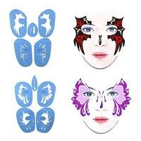 6ชิ้นชั่วคราวสักภาพวาดภาพวาดร่างกายใบหน้าแม่แบบสำหรับA Irbrushแต่งหน้าS TencilsสำหรับM Asqueradeพรรค