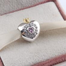 Fit Pandora Bracelet 925 Sterling Silver PINK PRINCESS HEART CHARM Beads with CZ crystal christmas trees red apple crystal cz 925 bracelet