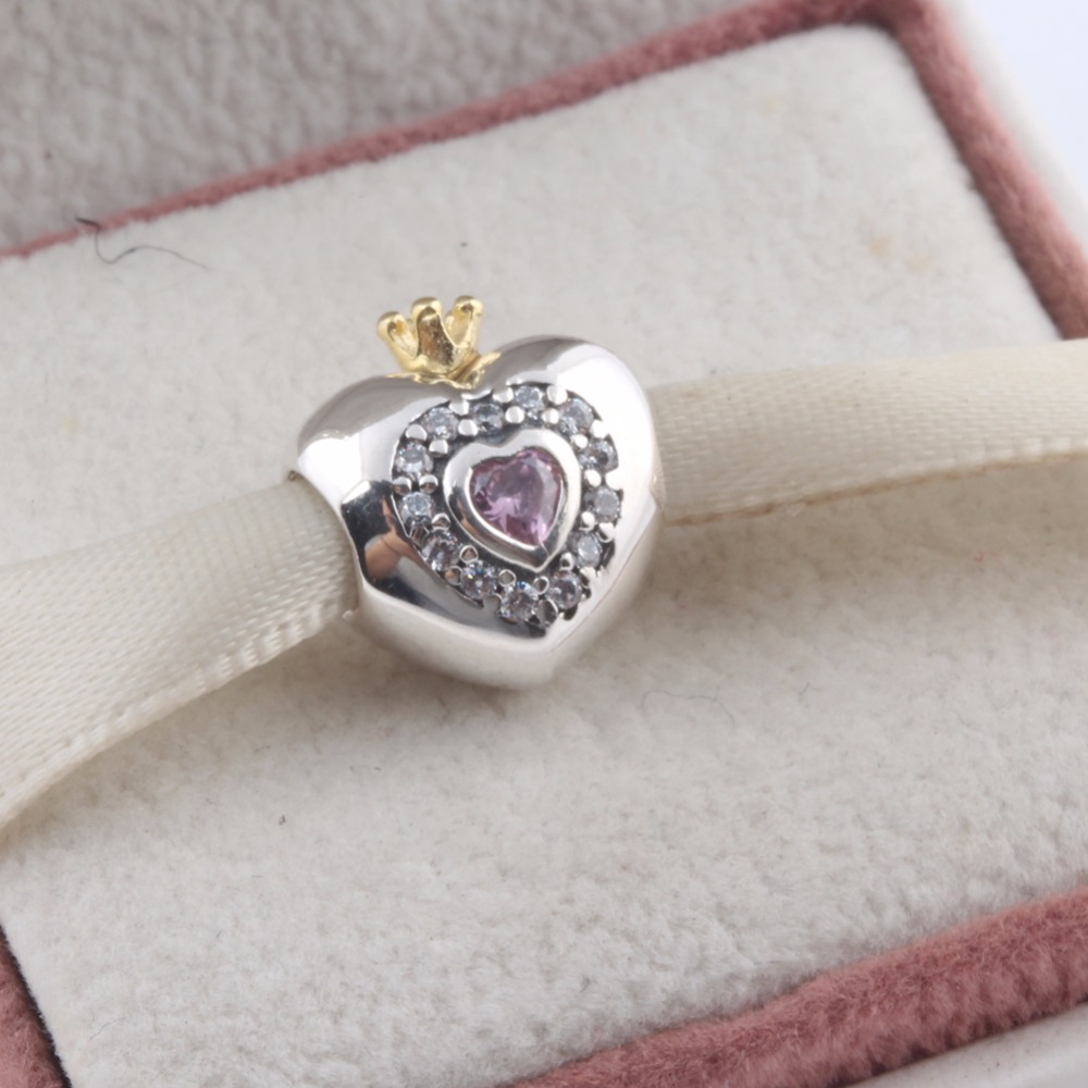 ZMZY Fit Pandora Bracelet 925 Sterling Silver Charms Pink Princess Heart Beads with CZ Crystal Crown Beads Diy for Girl