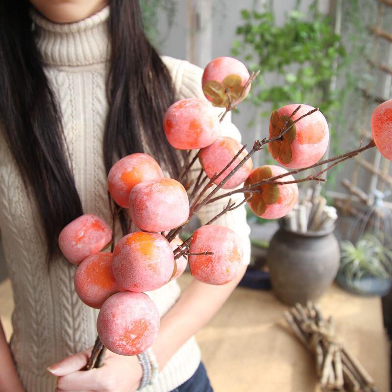 인공 열매 감 나무 나뭇 가지 가짜 과일 중국 스타일 홈 꽃 장식품 결혼식 천장 인공 꽃 10 p-에서인공 & 건조 꽃부터 홈 & 가든 의  그룹 1
