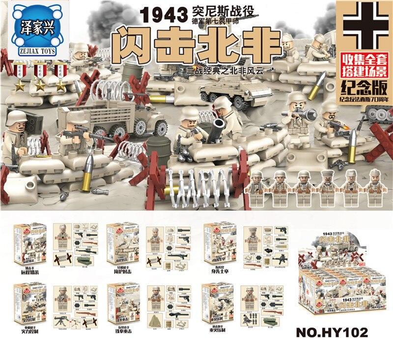 6pcs British Army World War Military Gun Weapon SWAT Soldier Navy Seals Team Building Blocks Brick Figures Boy Toy Children Gift