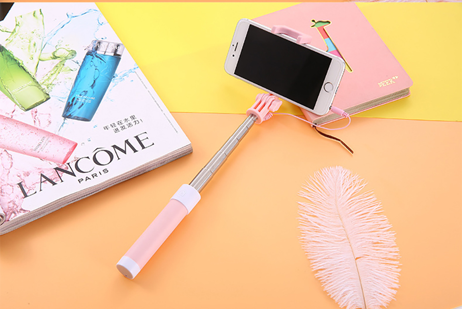 !ACCEZZ Mini Wired Selfie Stick IOS For iPhone X XR XS MAX 8 7 6 For Huawei Samsung Monopod Foldable Portable Selfiestick Mirror (22)
