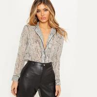 Sexy Tops For Ladies Women'S Lapel Leopard Shirt Women Fashion Long Sleeved Blouses Slim Fit Splicing Cardigan Single Breasted S