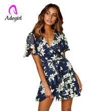 White floral print dress flare sleeve v neck drawstring waist sexy dress beachwear sashes mini dress casual flower sundresses ornate print drawstring waist dress