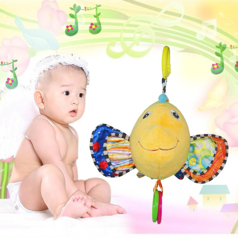Cute Fish Plush Handbell Toy Baby Crib Hanging Hanger Stuffed Hand Bell Rattle Toys for Babies Kids Child Children Gift Present