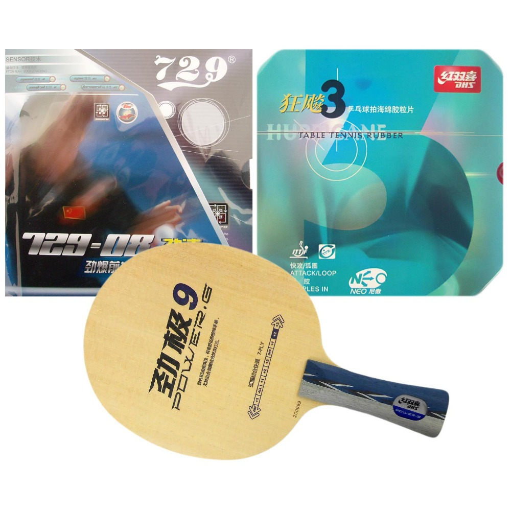 Original Pro Table Tennis Combo Racket DHS POWER.G9 PG9 PG.9 PG 9 with NEO Hurricane 3 and RITC729 729-08 Long Shakehand FL