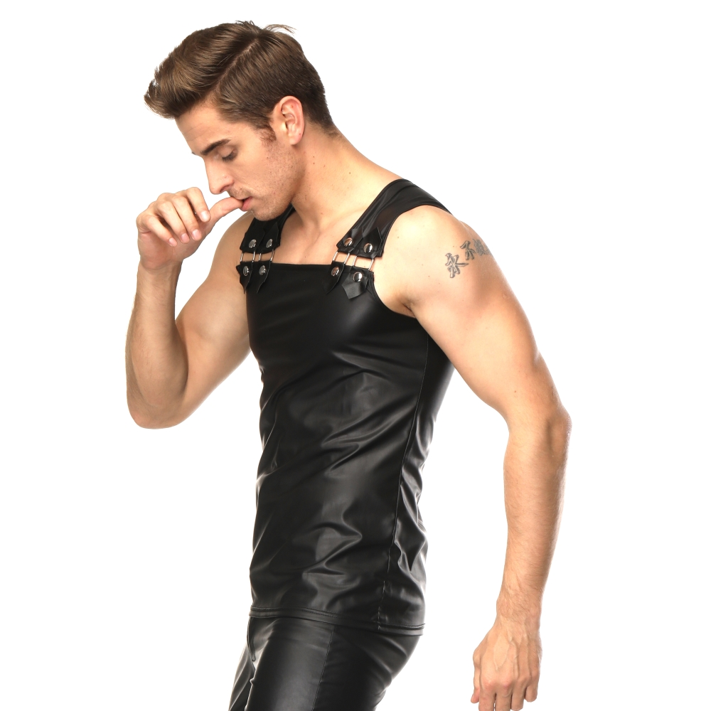 Sexy Lingerie EUROPE SEXY PVC RUBBER LATEX MENS T SHIRT EROTIC GAY VEST SUSPENDERS FETISH L943