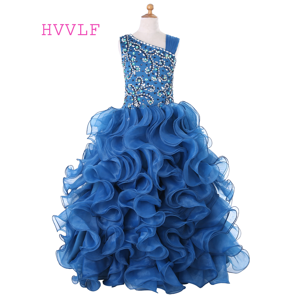 Royal Blue 2019   Girls   Pageant   Dresses   Ball Gown Organza Crystals Beaded   Flower     Girl     Dresses   First Communion   Dresses