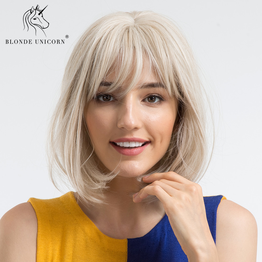 BLONDE UNICORN Natural Short Bob Wig 12 Inch Straight Synthetic Hair Cosplay Wig With Bangs Lolita Wigs For Womens Free Shipping