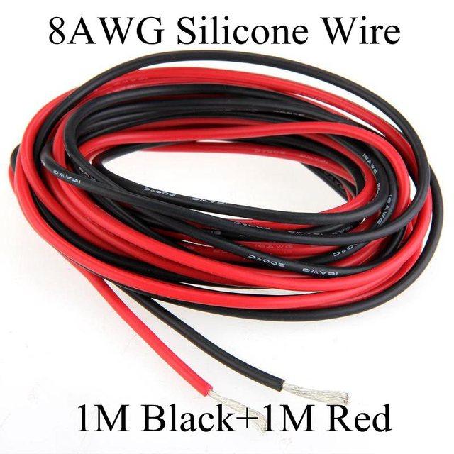 1 Mt Schwarz + 1 Mt Rot 8awg flexible silikon drahtstärke ...