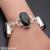 Hermosa brown cuarzo ahumado retro encantador de la joyería de moda 925 pulseras de plata de 6.5 pulgadas ajustable hm350
