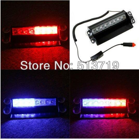 Dongzhen 8 LED de Véhicule D'urgence Avertissement Flash Stroboscopique Lumière Feux de Balisage de Police Pompiers Ambulance Flasher Lampe Rouge et Bleu