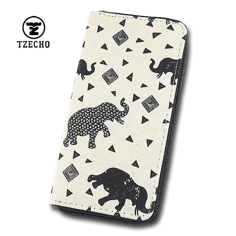TZECHO Zipper Wallet for Women With Phone Canvas Cartoon Elephant Clutch Purses Rfid Credit Cards Holder Long Ladies Long Wallet