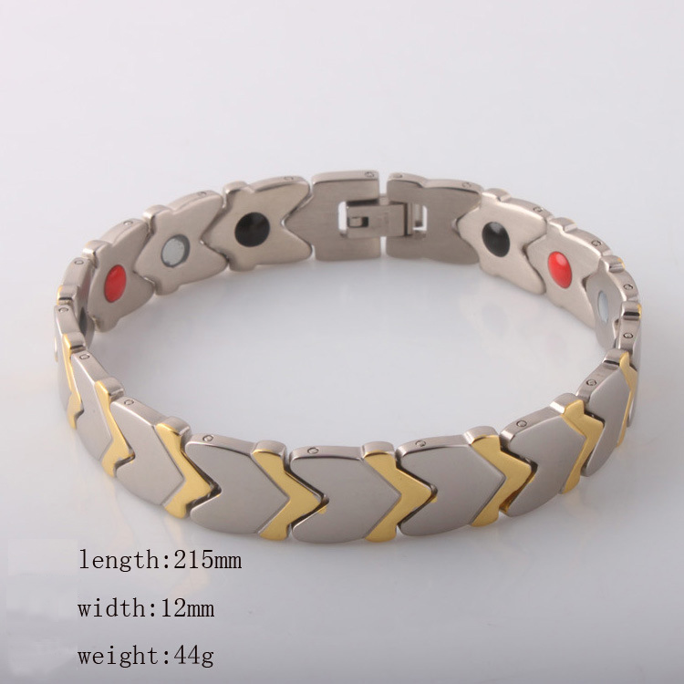 BUYEE Healing Magnetic Bracelet Men/Woman 316L Stainless Steel 3 Health Care Elements Gold & Silver Bracelet Hand Chain