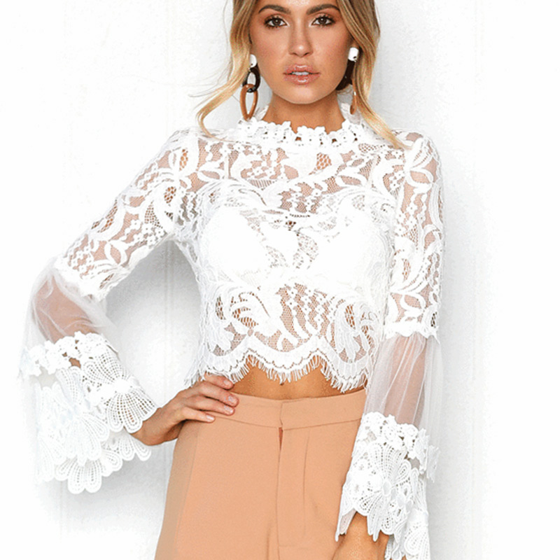 sheego shirt blouse transparent ladies lace shirt with embroidery white