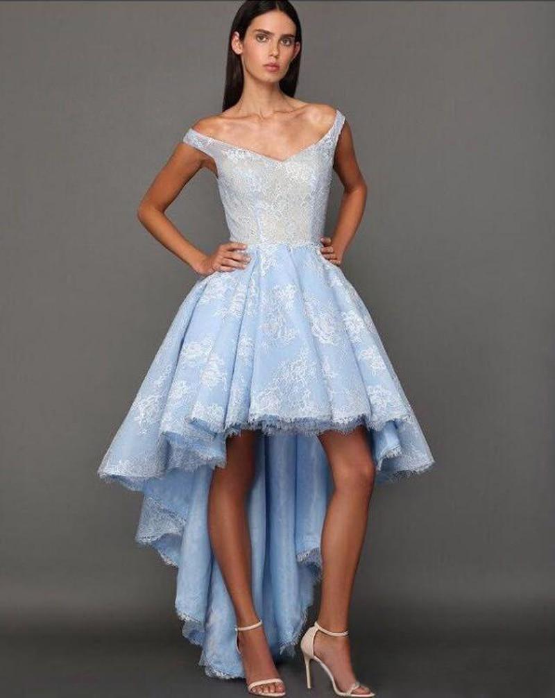 Blue prom dresses short front long back designer online