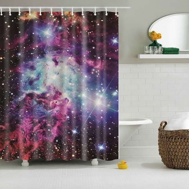 Cool Shining Stars Space Universe Customize Design Bath Waterproof Shower Curtain Bathroom Curtains New