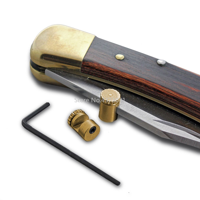 2 Sets Exquisite Retro Style CNC Technic EDC Brass Knife Push Button Plate Knife Pusher Nail