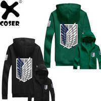 XCOSER Attack On Titan Hoodie AOT Wings of Liberty Survey Corps Zip Up Hoodie Green Black Hooded Sweatshirt Anime Cosplay