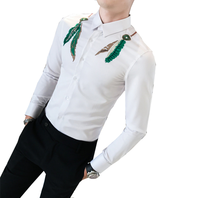 Mens Shirts Feather Slim Fit Long Sleeves