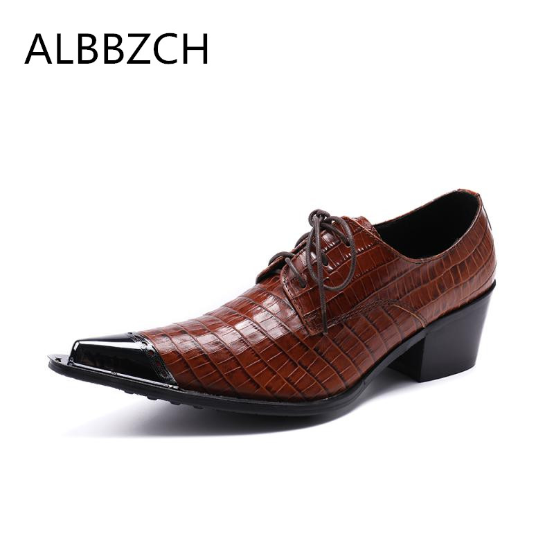 New mens fashion derby style high heels wedding dress shoes men pointed toe lace up embossed leather business casul shoes manNew mens fashion derby style high heels wedding dress shoes men pointed toe lace up embossed leather business casul shoes man