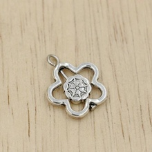 Hot Sale ! 100pcs Antique silver Alloy Double-Sided Hollow Flowers Rotating Flower Heart Charm Pendants DIY Jewelry 19*16mm kl30