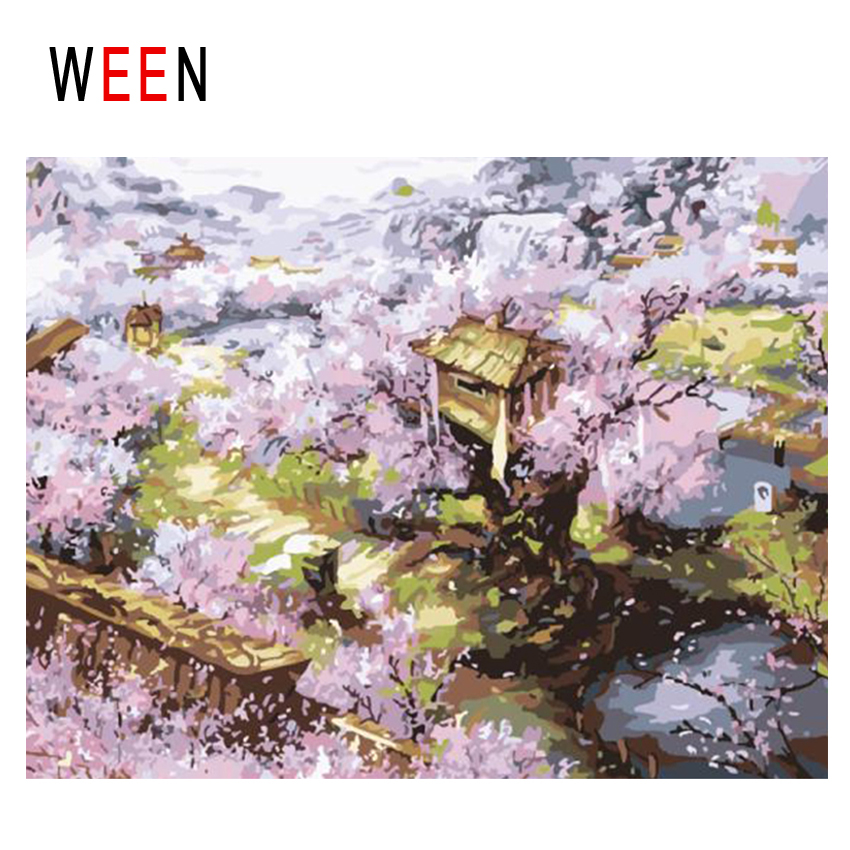 WEEN Village Diy Painting By Numbers Abstract Flower Tree Oil On Canvas Landscape Cuadros Decoracion Acrylic Wall Art