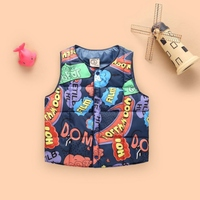 New 2017 Baby Winter Coats Outerwear Cartoon Letters Printed Thick Boys Girls Vest Kids Jackets Kids Warm Waistcoat