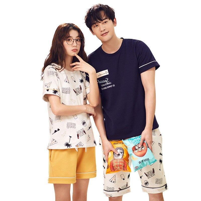 Women's Pajamas in summer Short sleeve Cotton sleepwear Couple lovers Men Sleep pyjamas Lounge Pajama Set