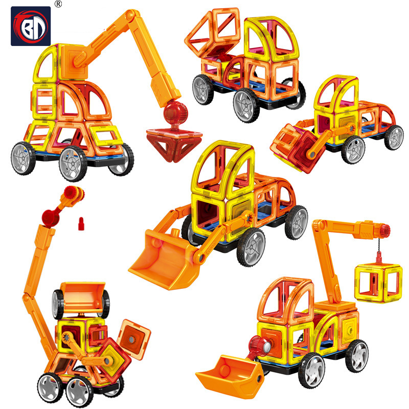BD 60pcs / Sæt Big Size Magnetic Blocks Contructor DIY Magneter Building Blocks Uddannelses Designer Blok Legetøj For Børn Gaver