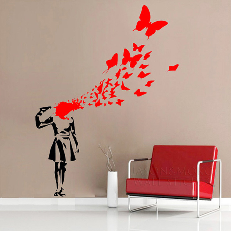 Creative Banksy Girl Butterfly Blood Vinyl Art Wall Sticker Decal Mural Wallpaper for Bedroom Living Room Home Decor 80x100cm