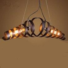 Vintage Bar Cocina luz colgante lámpara de Suspensión De Hierro Novedad espiral de metal Rústico Restaurante Cafe light Lamparas E27 * 2 Edison
