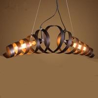 Bar Vintage Rustic metal pendant light Kitchen Iron Suspension light Novelty spiral Restaurant Cafe light Lamparas E27*2 Edison