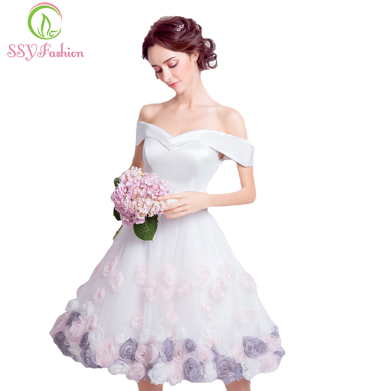SSYFashion New White Satin with Rose Flower Short Cocktail Dress Bride Banquet Sweet Knee length Formal