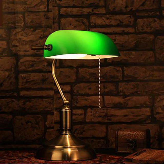 1 pcs Green glass lampshade Table reading lamp study work light for library decorative study room desk light E27 LED Tafellamp