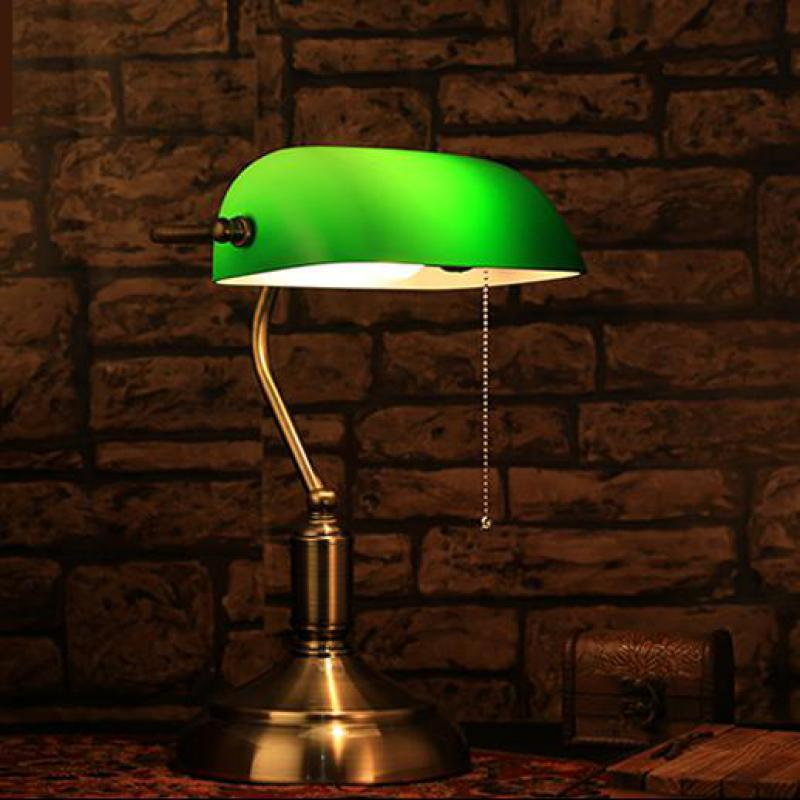 1 pcs Green glass lampshade Table reading lamp study work light for library decorative study room desk light E27 LED Tafellamp