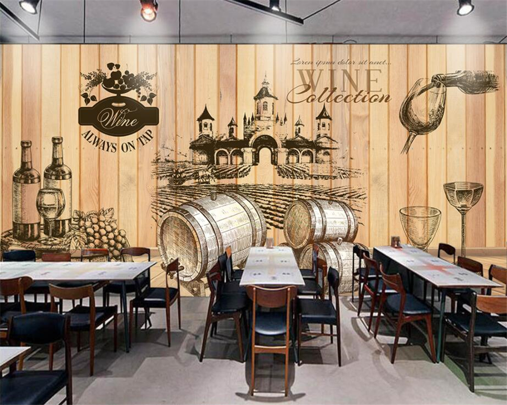 Beibehang Home Decorative Wallpaper Vintage Hand Painted Wine Cellar Wooden  Background Photo Wall Mural 3D Wallpaper