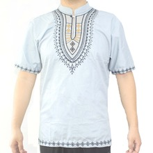 Africa Ethnic Embroidery Men`s Dashiki Tops Mandarin Color Folk Shirts for Summer
