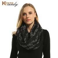 Free Shipping Musical Notes Print Infinity Loop Scarf Women S Accessories For Music Lovers