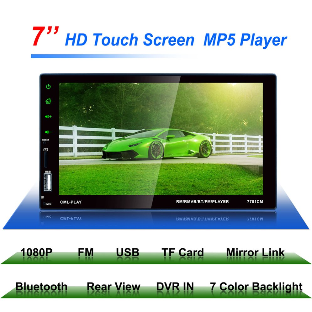 7701 HD Digital 7 Inch Touch Screen Car Multimedia Player Support Mobile Phone Interconnection Bluetooth Hands