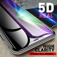 Senior 5D 9H Full Transparent Cover Tempered Glass Protector for iPhone XR XS Max X 8 7 6 6s plus 100pcs no retail package