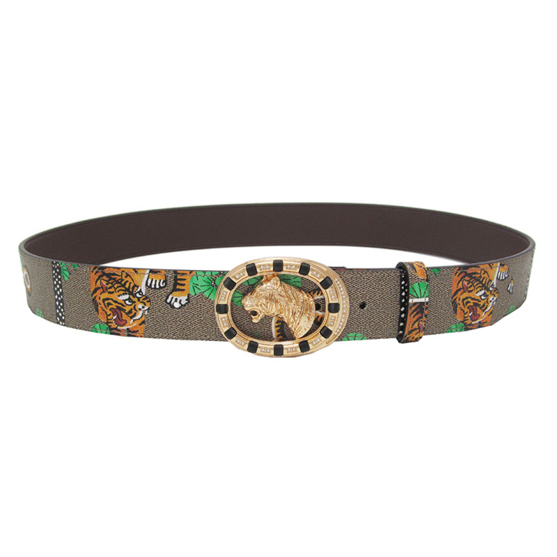 western young men's leather tiger belt alloy smooth animal buckle fashion casual men's trousers belt