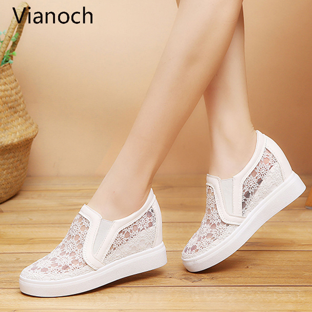 2019 New Fashion Womens Shoes Casual Wedges Mesh Shoe Slip On Lady aa0773 3