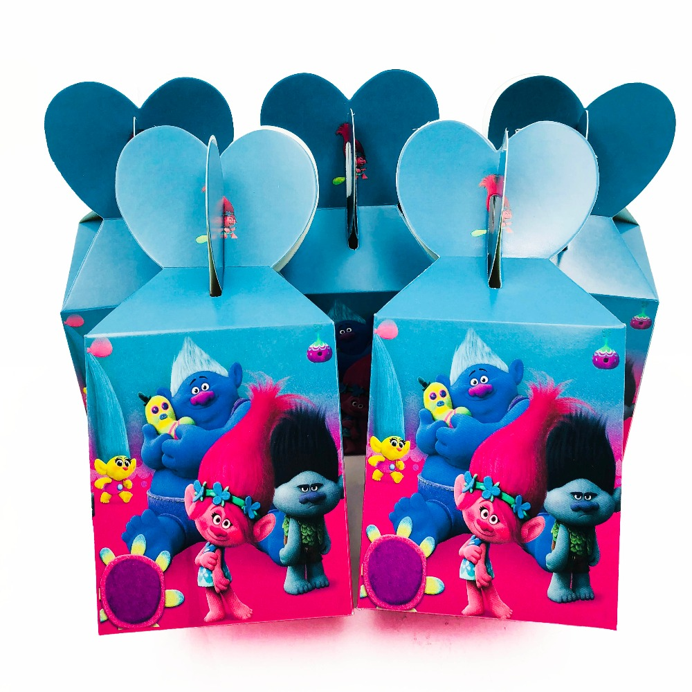 6pcs/set Trolls Candy Boxs Cartoon Paper Bags Theme Birthday Event Infantiles Decoracion Baby Shower Gift Party Supplies