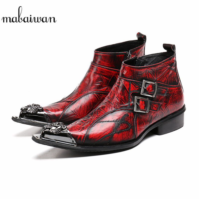 Mabaiwan Fashion Retro Men Shoes Autum Winter Snow Ankle Boots Metal Pointed Toe Cowboy Military Boots Safety Shoes Men Flats red men wedding dress shoes pointed toe ankle boots genuine leather botas hombre cowboy military boots metal decor men flats