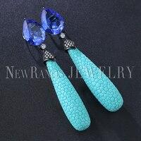 Newranos Женские Висячие серьги синий в виде капли воды серьги со стразами Bohemia Brincos для женщин модные украшения EFX008884