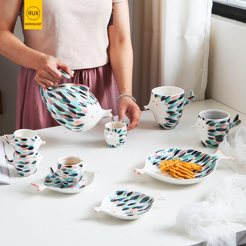Newcartoon fis Dinnerware Sets Ceramic Party Porcelain Plate Coffee cup bowl Household Tableware Kettle Afternoon tea Kettle set